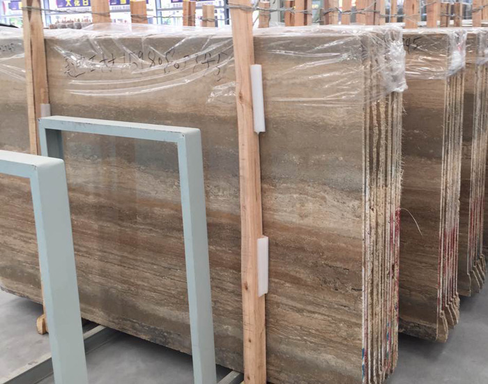 Italy Silvery Travertine Brown Marble Slabs
